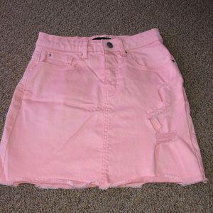 Baby pink mini jean skirt